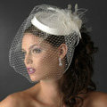 Beautiful White/ Ivory Birdcage Bridal Flower Feathers Fascinator Bride Wedding Hats Face Veils