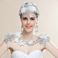 Calssic Bride Princess Lace Flower Rhinestone Tassel Wedding Necklace Bridal Shoulder Chain Dress Jewelry
