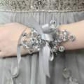 Customized Vintage Wedding Dress Handmade Beaded Crystal Flower Bracelet Bridal Wristlet Accessories