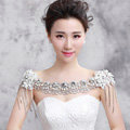 Elegant Bride Wedding Pearls Lace Flower Crystal Tassel Shawl Bridal Shoulder Chain Jewelry