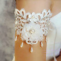 Elegant Pearl Rhinestone Lace Flower Bridal Armlet Wedding Party Perform Bracelet Arm Chain Accessories