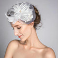 European Crystal Gauze Bridal Feather Fascinator Hair Accessories Wedding Dress Prom Hat Face Veils