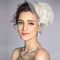 European Elegant Pearl Crystal Gauze Bridal Fascinator Hair Accessories Wedding Dress Prom Large Hat Face Veils