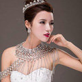 European Extreme Luxury Crystal Tassel Bridal Necklace Rhinestone Shoulder Chain Wedding Party Jewelry