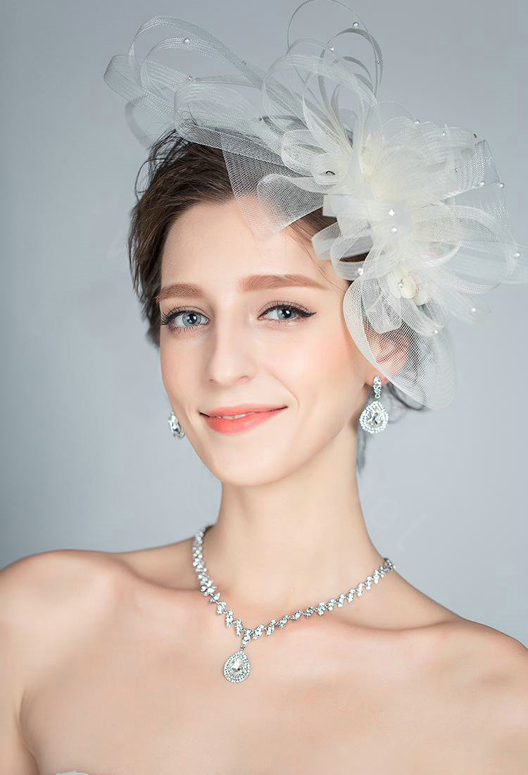 buy wholesale european pearl crystal gauze bridal fascinator hair