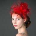 European Red Flower Crystal Gauze Bridal Fascinator Hair Accessories Wedding Party Prom Hat Face Veils