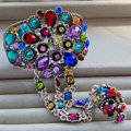 European Retro Multicolour Rhinestone Flower Bridal Bracelet Wedding Dress Crystal Bangle Chain Jewelry