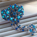 European Retro Peacock Blue Rhinestone Flower Bridal Bracelet Wedding Dress Crystal Bangle Chain Jewelry