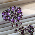 European Retro Purple Rhinestone Flower Bridal Bracelet Wedding Dress Crystal Bangle Chain Jewelry