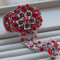 European Retro Red Rhinestone Flower Bridal Bracelet Wedding Dress Crystal Bangle Chain Jewelry
