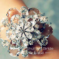 Fashion Large Rhinestone Flower Bridal Wrap Bracelet Wedding Stage Dress Crystal Bangle Chain Jewelry