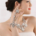 Fashion Rhinestone Flower Bridal Wrap Bracelet Wedding Stage Dress Crystal Bangle Chain Jewelry