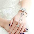 Fashion Shinning Rhinestone Flower Bracelet And Ring Tassel Chain Bridal Accessories Wedding Jewelry