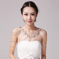 Fashion Sweety Flower Crystal Bridal Necklace Chain Rhinestone Shoulder Strap Wedding Jewelry