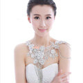 Gorgeous Bride Wedding Lace Flower Tassel Crystal Shawl Rhinestone Bridal Shoulder Chain Jewelry