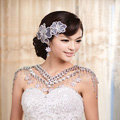 Hot sales Luxury Crystal Bridal Necklace Shawl Rhinestone Flower Tassel Shoulder Chain Wedding Party Jewelry