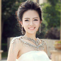 Hot sales Luxury Crystal Bridal Necklace Shawl Rhinestone Tassel Shoulder Chain Wedding Party Jewelry