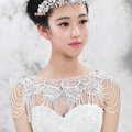 Luxious Bride Wedding Rhinestone Lace Flower Crystal Beads Tassel Shawl Bridal Shoulder Chain Jewelry