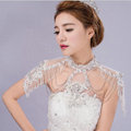 Luxurious Bride Crystal Beads Lace Wedding Shawl Bridal Stage Duchess Pearl Tassel Shoulder Chain Jewelry