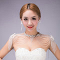 Luxurious Bride Crystal Beads Lace Wedding Shawl Bridal Stage Duchess Shoulder Chain & Earrings Jewelry