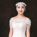 Luxurious Bride Crystal Lace Flower Wedding Shawl Nail Bead Tassel Bridal Shoulder Chain Jewelry