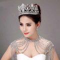 Luxurious Bride Wedding Necklace Crystal Tassel Bridal Rhinestone Shoulder Chain & Big Tiara Jewelry