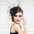 Luxury European Black Birdcage Bridal Flower Feathers Fascinator Hair Hoop Bride Wedding Prom Hats Face Veils