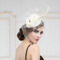 Luxury European White Birdcage Bridal Flower Feathers Fascinator Hair Hoop Bride Wedding Prom Hats Face Veils