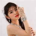 Luxury Rhinestone Flower Bridal Wrap Bracelet Wedding Stage Dress Crystal Bangle Chain Jewelry