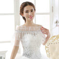 New Arrival Bride Elegant Lace Shawl Wedding Rhinestone Tassel Bridal Shoulder Chain Jewelry