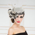 New British Aristocracy White/Black Lace Flax Bridal Flower Feathers Fascinator Wedding Dress Prom Hats