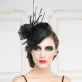 New Fashion British Black Flax Yarn Bridal Flower Feathers Fascinator Wedding Dress Prom Hat