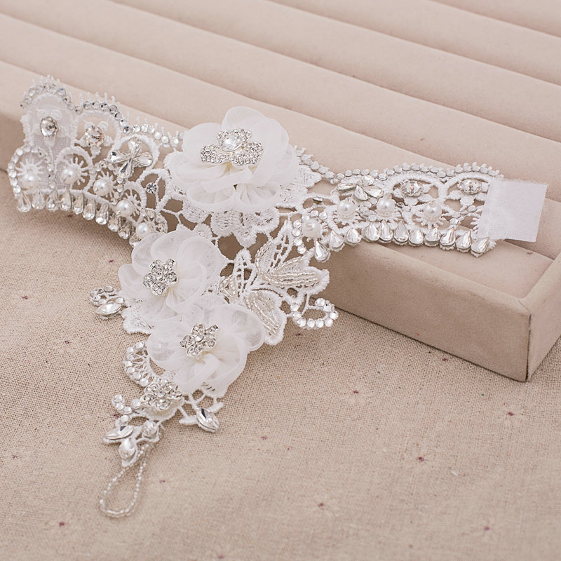 Buy wholesale new pearl rhinestone lace flower bridal for Bracelet for wedding dress