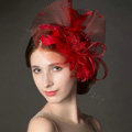 Newest European Red Crystal Gauze Bridal Feather Fascinator Hair Accessories Wedding Dress Prom Hat