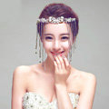 Princess Butterfly Rhinestone Long Tassel Frontlet Bridal Crown Wedding Hair Headpiece Accessories