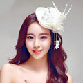 Princess Lace Flower Crystal Beads Bridal Feathers Tassel Fascinator Hat Bride Wedding Party Hair Accessory