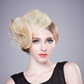 Retro Fashion British Apricot Flax Yarn Bridal Flower Headdress Fascinator Wedding Dress Prom Hat