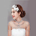 Retro Queen Heart Crystal Bridal Necklace Rhinestone Large Shoulder Body Chain Wedding Jewelry