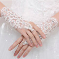 Rhinestone Lace Brides Wristlet Wedding Floral Fingerless Short Gloves Bridal Dress Accessories