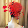 Vintage Bridal Flower Feathers Fascinator Wedding Accessories Prom Party Red Gauze Hats Face Veils