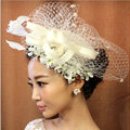 Vintage Bridal Flower Feathers Fascinator Wedding Accessories Prom Party White Gauze Hats Face Veils