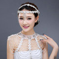 Vintage Bride Wedding Crystal Beads Tassel Necklace Bridal Lace Choker Shoulder Chain Jewelry