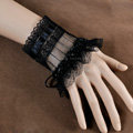 Vintage Gothic Style Rhinestone Black Lace Bridal Wristlet Wedding Dress Party Perform Bracelet Accessories
