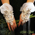 Vintage Lace Rhinestone Flower Bridal Wristlet Wedding Dress Perform Nail Bead Gauze Bracelet Accessories