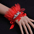 Vintage Red Lace Flower Rhinestone Bridal Wristlet Wedding Dress Perform Nail Bead Gauze Bracelet Accessories