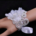 Vintage Romantic Rhinestone Pearl Lace Flower Bridal Wristlet Wedding Dress Perform Bracelet Accessories
