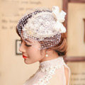 Vintage White Lace Flower Pearl Crystal Beads Bridal Fascinator Bride Wedding Dinner Party Hats Face Veils