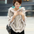 Autumn Winter Real Rabbit Fur Shawl Women Sweater Poncho With Hoody Knitted Pullovers Beige