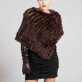 Calssic Fashion knitted Rabbit Fur Shawl Party Wrap Women's Triangle Knitted Rabbit Fur Poncho - Coffee