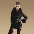 Cool Genuine Pig Leather Coat With Large Fox Fur Collar Women Winter Belt Fur Jacket - Black